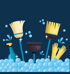 spring cleaning tools vector image