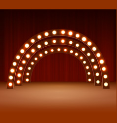 Stage with circle light bulbs vector
