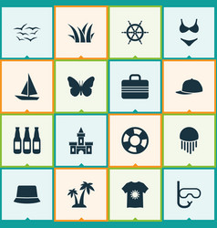 Summer icons set with beer swimsuits sand castle vector