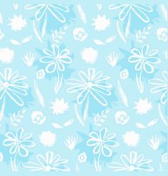 tender blue hand drawn ink flowers pattern vector image