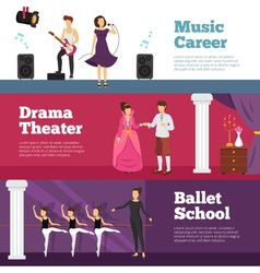 Theatre People Banners Set vector image