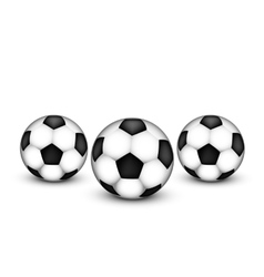 Three soccer ball on a white background vector image
