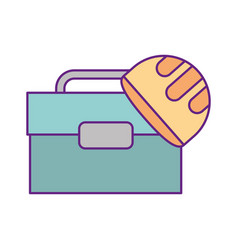 tool box with helmet vector image