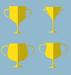Trophy cup icon set vector