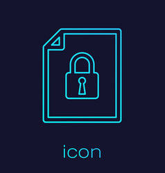 Turquoise document and lock line icon isolated on vector