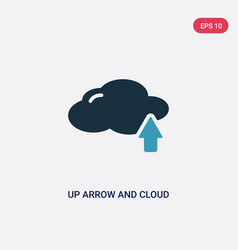 two color up arrow and cloud icon from tools and vector image