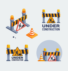 Under construction logos set badges vector