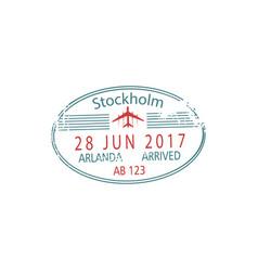 Visa stockholm arlanda airport arrival date vector