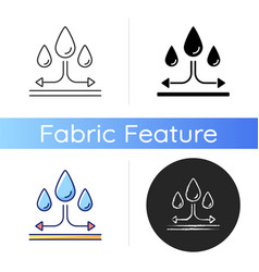 Water repellent fabric feature on fabric icon vector