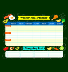 Weekly meal planner with foods a meal timetable vector