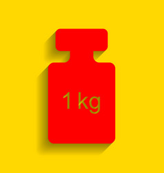 weight simple sign red icon with soft vector image