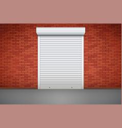 White roller shutters on door vector