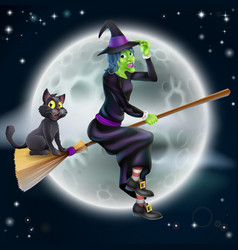 witch flying on broom and night sky vector image