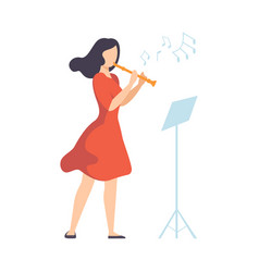 Woman in red dress playing flute vector