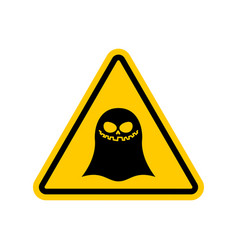 Attention ghost dangers of yellow road sign spook vector