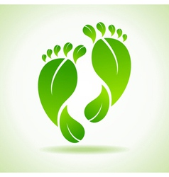 foot made by green leaves vector image vector image