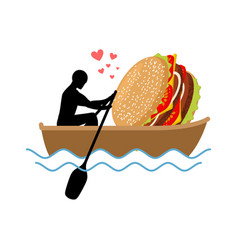 lover fast food man and hamburger ride in boat vector image vector image