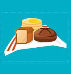 pas slice bread and breakfast food vector image vector image