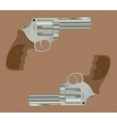 pistol handgun gun isolated revolver with wood vector image