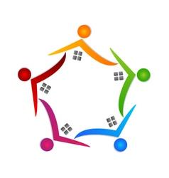 Real estate teamwork logo vector image vector image