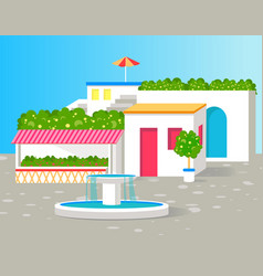 Small villa with lot of green flowers color card vector