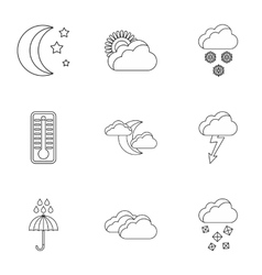 Weather forecast icons set outline style vector image