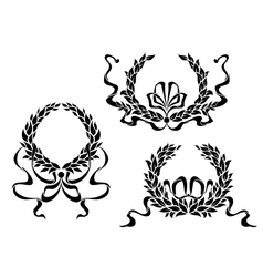 Coat of arms with laurel leaves and ribbons vector image