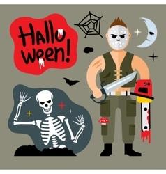 Comic Crazy maniac Halloween Scene Cartoon vector image vector image