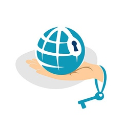 Globe in the hand with key logo template vector image vector image