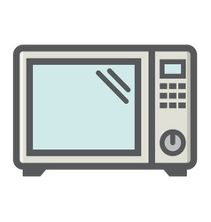 Microwave oven colorful line icon household vector