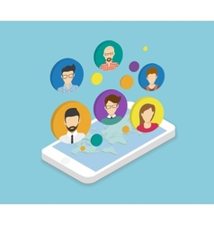 People communication via smartphone app vector image vector image