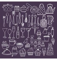 Set of hand drawn kitchen equipments Kitchen vector image vector image
