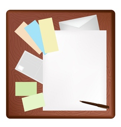 A Pen Lying on A Blank Page and Envelope vector image