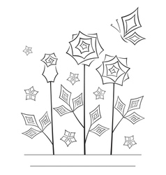 Artistic angular flower line art card vector