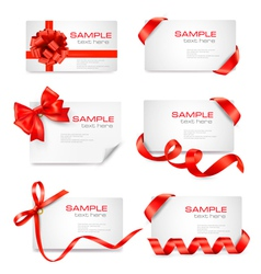 big set of cards with red gift bows and ribbons vector image vector image