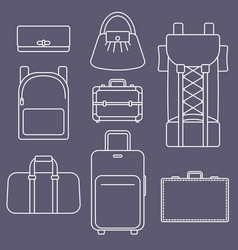 different types of bags white outline flat vector image vector image