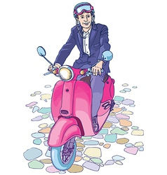 Businessman on the Scooter vector image vector image