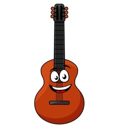 Happy wooden acoustic guitar vector image