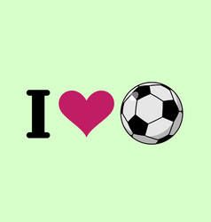 i love soccer heart and ball logo for sports fans vector image