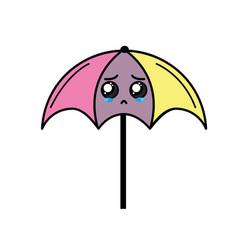 Kawaii cute crying umbrella emoji vector