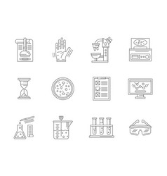 laboratory expertise flat line icons set vector image vector image