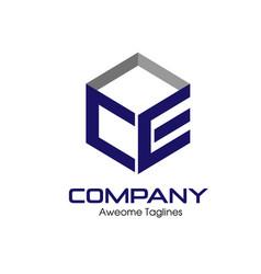 Letter ce box logo vector
