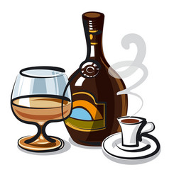 liquer with coffee vector image vector image