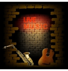 live music neon light of brick wall saxophone and vector image vector image