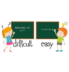 Opposite adjectives difficult and easy vector image vector image