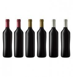 red wine bottles vector image vector image