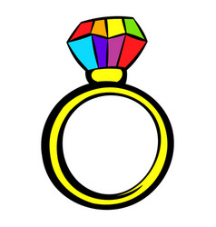 ring with rainbow diamond icon icon cartoon vector image
