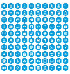100 writer icons set blue vector