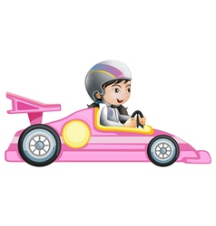A girl riding in a pink racing car vector