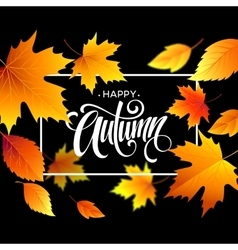 Autumn leaves background with calligraphy Fall vector image